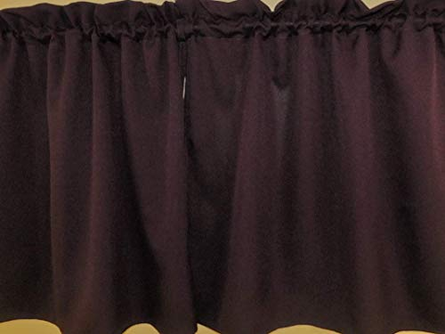 Solid grape, curtain - 2 panels/Tiers - cafe style, Window/Kitchen, Bath, Laundry, basement, office kids daycare schools, Eggplant color, Dark Purple Curtain 32