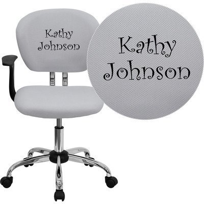 Mid-Back Mesh Embroidered Task Chair Finish: White, Arm Option: Included (Mesh Back Mid Embroidered)