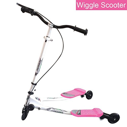 Trick Double Pedal (Y Fliker Air Push Swing Scooter Winged Speeder Tri Wheel 3 Wheel Kick Scooter Carver Drifter for Boys/Girls/Children Kickboard)