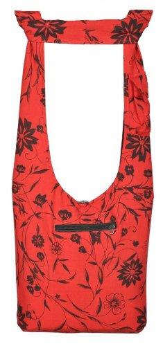 Shangri-La Nook Cotton crossbody Flower Print Bag Handmade in Nepal Red