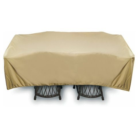 Two Dogs Designs 2D-PF96965 Home and Garden Square Table Set Cover With Level 4 UV Protection, 96-Inch, Khaki