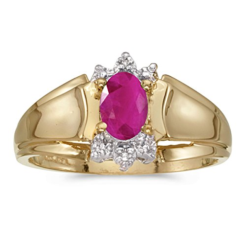 - 0.36 Carat (ctw) 14k Yellow Gold Oval Red Ruby and Diamond Accent Anniversary Fashion Ring (6 x 4 MM) - Size 10