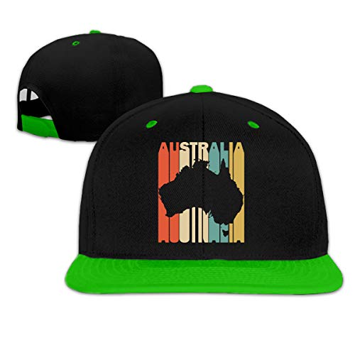 (Retro Style Australia Silhouette Unisex Hip-Hop Flat Bill Baseball Hats, Plain Cotton Snapback Cap)