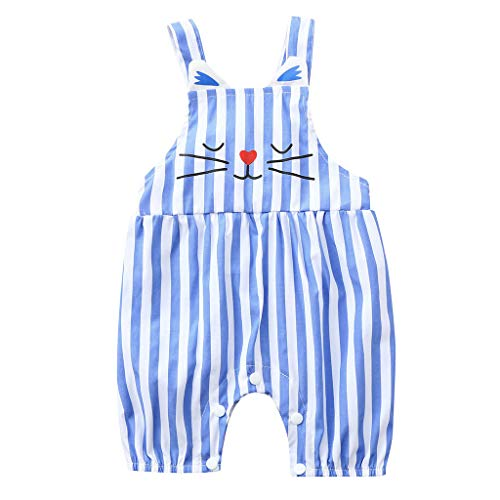 KawaiineSummer Casual Toddler Kids Baby Cute Stripe Print Romper Clothes Tops Light Blue