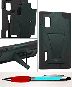 Accessory Factory(TM) Bundle (the item, 2in1 Stylus Point Pen) LG L40G Optimus Extreme Hybrid Case w Stand Black
