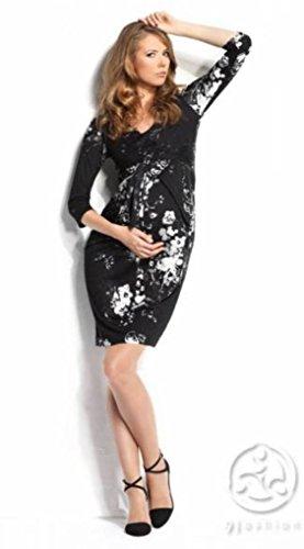 9Fashion diseño de hojas de muérdago diseño de estampado de faja para maternidad y de la salas de operaciones para coser un vestido Black print Talla:16
