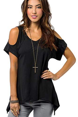 Urban CoCo Women's Vogue Shoulder Off Wide Hem Design Top Shirt - Large - Black