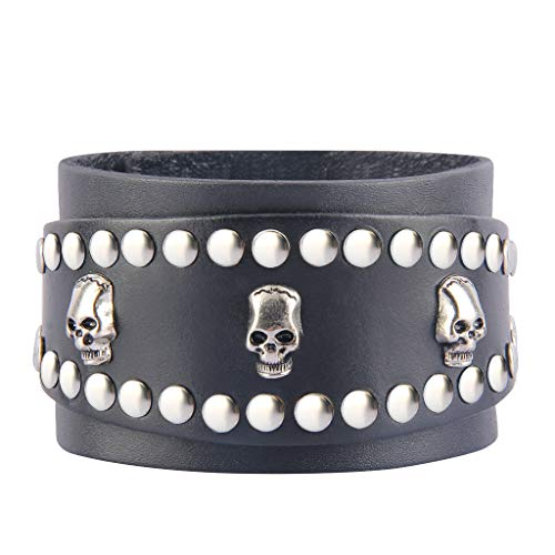 Bfiyi Punk Leather Bracelets Adjustable Wrap Bracelet Skull Cuff Bracelet Rock Leather Wristband for Men, Kids, Boys, Women, Biker, Rocker ()