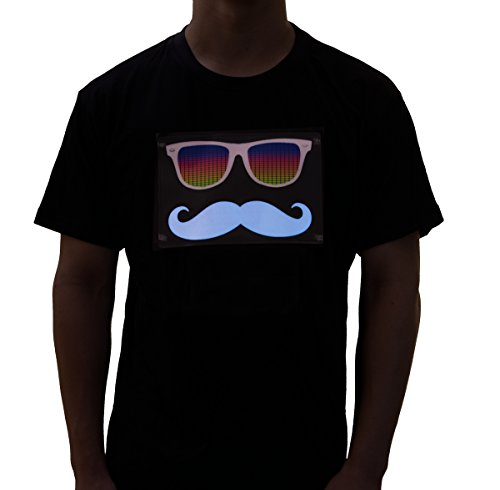 Rave Raptor Sound Activated Shirt EDM Mustache LED Shirt Light Up T-shirt (Large) (T Shirt Light Up)