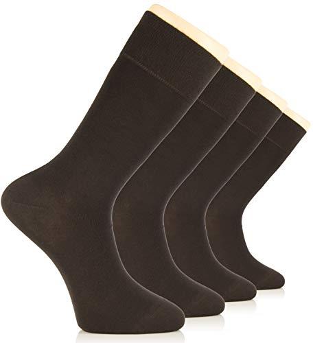 Hugh Ugoli Men's Dress Crew Socks Seamless Bamboo Business Casual 4 Pairs (Dark Brown)