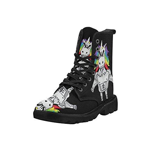 Rent-out Mode-schoenen Unicorn Print Veterschoenen Voor Dames Zwarte Zool
