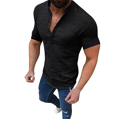 (Shirts for Mens, Pervobs Men Summer Linen Short Sleeve Plain V Neck Casual Button Up T-Shirt Slim Fit(XL, Black))