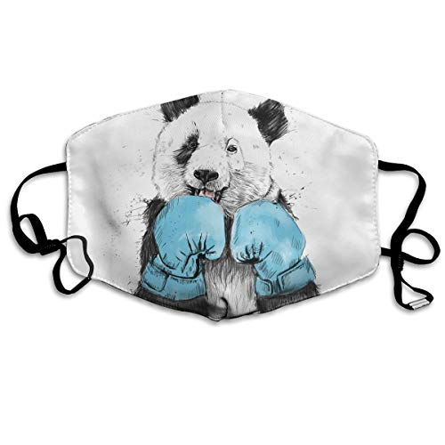 - Hateone Unisex Unique Mouth Mask - Boxing Minimalist Panda Graphics Polyester Anti-dust Masks - Fashion Washed Reusable Face Mask for Outdoor Cycling