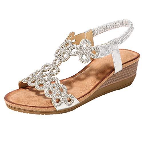 (YEZIJIN Women Ladies Crystal Casual Wedges Elastic Band Bohemian Beach Shoes Sandals wedge Platform/High Heel Sandals for women 2019)