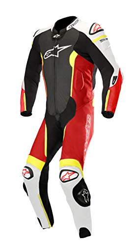 Missile Leather Racing One-Piece Motorcycle Suit for Tech-Air Race Airbag System (52 EU, Black Red Fluo White) ()
