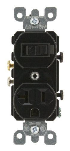 Leviton 5335 20 Amp, 120 Volt, Duplex Style Combination Single Pole Switch/Receptacle, Grounding, (Switch Black 20 Amp)