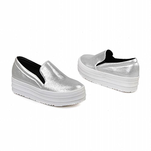 Latasa Femmes Mode Faux Cuir Slip-on Plate-forme Mocassins Chaussures Argent