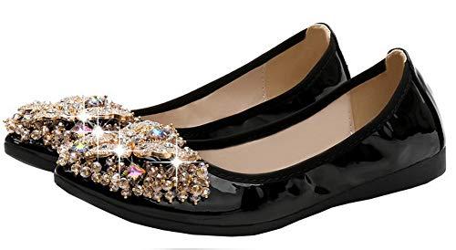 Senza Tirare Ballet FBUIDD006895 Tacco Luccichio Nero Punta AllhqFashion Flats A Scarpe Donna xB0wTtvqE8