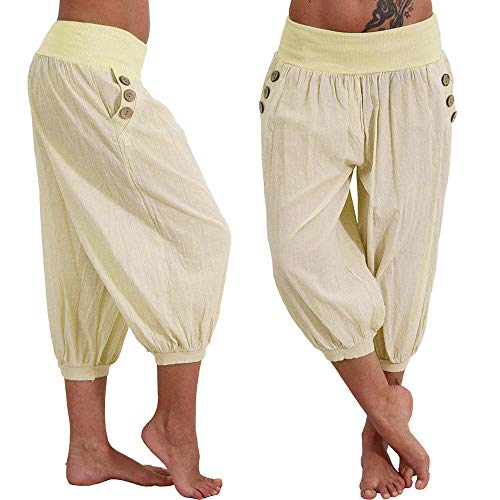 Women's Pants Loose Comfy Overalls Boho Solid Joggers Cropped Trousers Bottoms Yoga Sweatpant Summer Beige by Pottseth (Image #1)