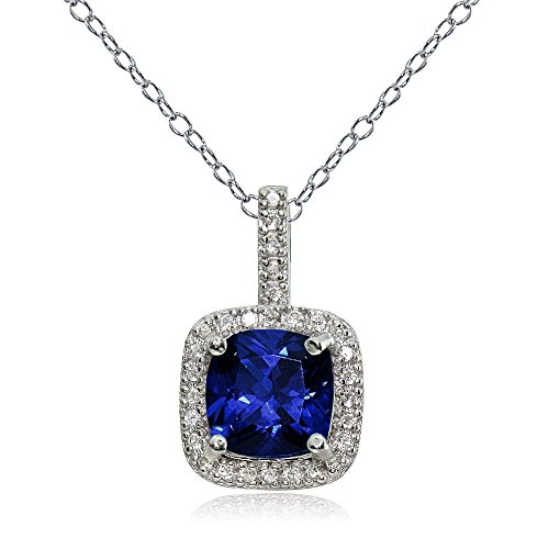 Ice Gems Sterling Silver Created Blue Sapphire & White Topaz Cushion-Cut Necklace
