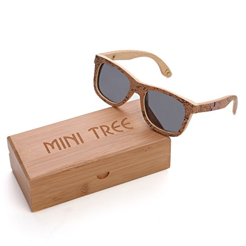 Mini Tree Retro Cork Sticker Bamboo Polarized Sunglasses Wayfarer Style Eyewear With Bamboo Case (Bamboo, Gray) (Cork Sunglasses)