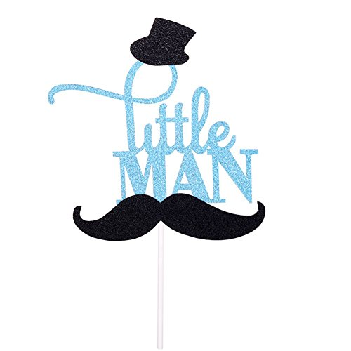 Glitter Blue Little MAN Cake Topper with Mustache Hat Birthday Party Baby Shower Gender Reveal Cupcake Decoration -