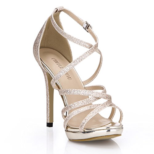 CHAU Glitter Cross Light Shoes CHMILE Gold Ladies Toe Open Women Sandals Heels Strap Dress Sexy High Stiletto qadTwCxp