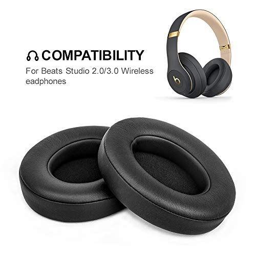 Headphone Earpads Replacement Foam Ear Pads Memory Foam Cushion Cover for Beats Studio 2.0 Wired/Wireless B0500 / B0501 & Beats Studio 3.0 (2 Pieces, - Headphone Foam Pads