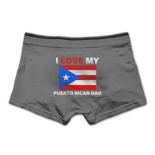 Men's Underwear I Love My Puerto Rican Dad Cotton Boxer Briefs