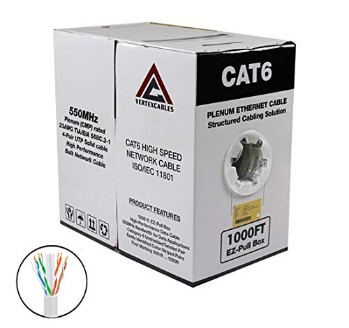 (CAT6 Plenum Solid Network Cable 1000FT 550MHz 23AWG UTP White)