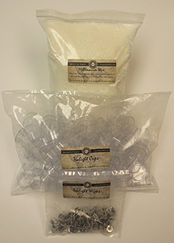 Polycarbonate Tealight Cups, Wicks, and Soy Wax Kit (100)