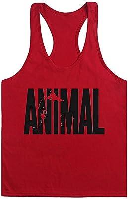 Camiseta Deportiva de T Shirt Tirantes para Hombre Gym con Texto Animal
