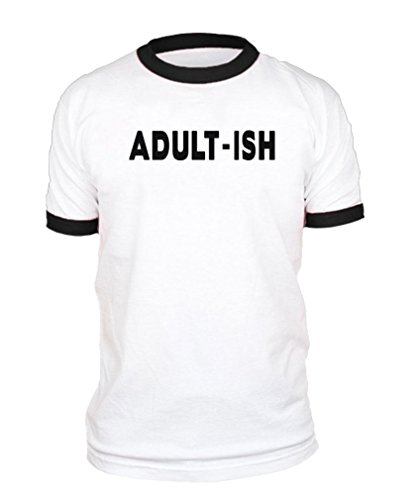 Person Ringer T-shirt (- Adult-ish - Grown Person Child Career - Cotton Black Ringer Tee, 2XL)