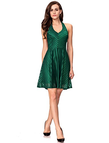 Green Skater Striped Women's Halter Backless Party Cocktail InsNova Dress g8xqIdg