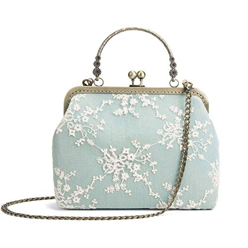 Women Vintage Kiss Lock Evening Purse Top Handle Handbag Lace Crossbody Shoulder Bag with Chain Starp Green