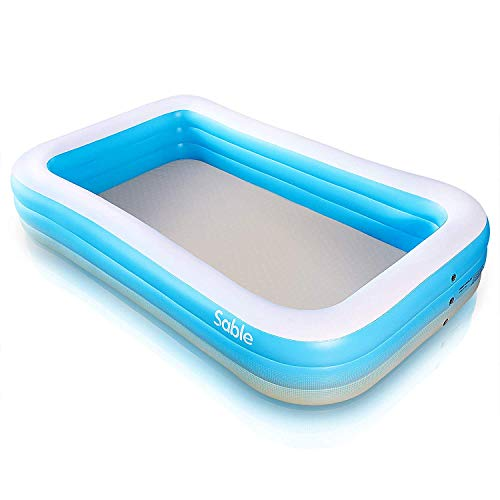 Sable Rectangular Inflatable Family Paddling Swimming Pool Indoor & Outdoor for Kids and Adults, 300 x 184 x 50cm, Blue & White