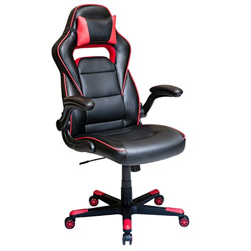 Techni Mobili Height Adjustable Office Chair with Detachable Headrest Pillow and Flip Up Arms, Black/Red