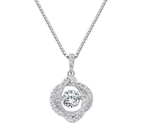 Swirl Necklace (NANA Swirl Dancing Stone Pendant Silver & CZ with 1mm 22