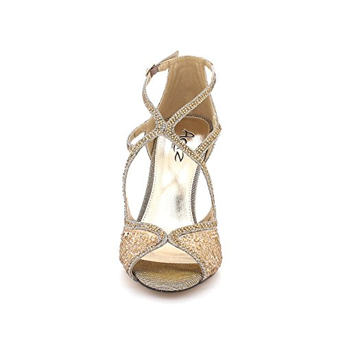 Sandalias Fiesta Señoras Zapatos Nupcial Alto De Noche Tacón Prom Mujeres Bodas Diamante Estaño Tamaño Peeptoe PtBAgq