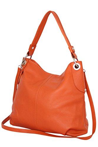 Véritable Cuir Orange Femme Bandoulière tout Gl012 Main À Fourre Moda Sac Ambra 68TzUU