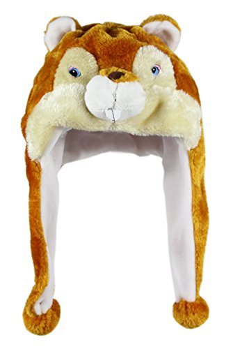 Adult Squirrel Costumes (Bioterti Plush Fun Animal Hats –One Size Cap - 100% Polyester With Fleece Lining (Squirrel))