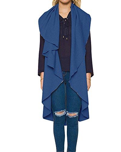 Mujeres Bolsillo Casual Chaleco Sin Mangas Largo Blazer Chaqueta Abrigo Azul