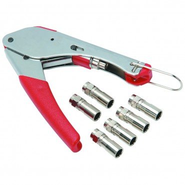Coaxial Cable Compression Tool Kit with 6 piece compression type F connectors