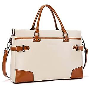 BOSTANTEN Leather Briefcase Messenger Satchel Bags Laptop Handbags for Women
