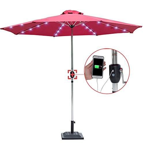 Sundale Outdoor 10 Feet Deluxe Solar Powered 32 LED Lighted Patio Garden Silvery Aluminum Pole Market Umbrella with Crank, USB Charger and Built-in Power Bank, Red