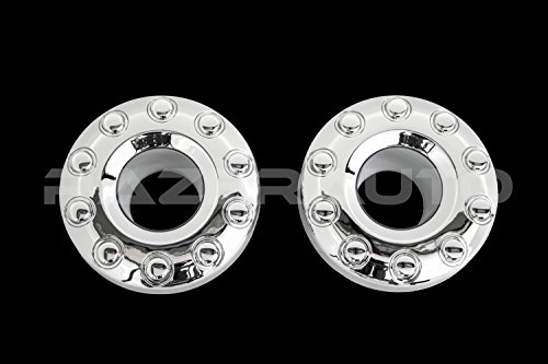 (Razer Auto Chrome 10 Lug FRONT Wheel Center Hub Cap 1 Pair for 05-17 Ford Super Duty F350+F450+F550 Dually Truck Only)