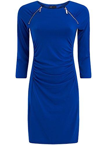 oodji Collection Mujer Vestido de Silueta Ajustada con Cremalleras Decorativas Azul (7500N)