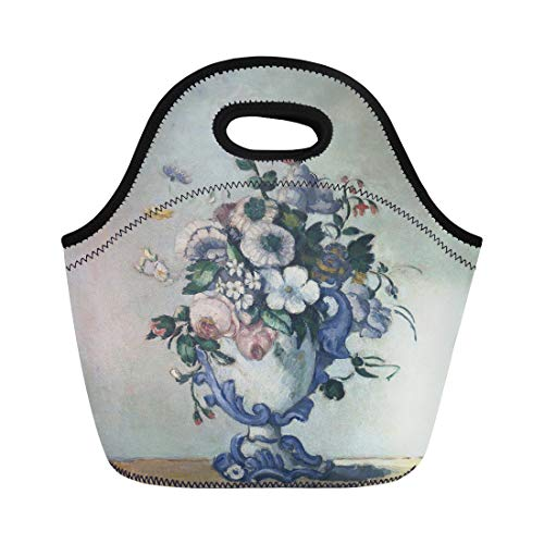 (Semtomn Lunch Tote Bag Flowers in Rococo Vase By Paul Cezanne 1876 French Reusable Neoprene Insulated Thermal Outdoor Picnic Lunchbox for Men Women )