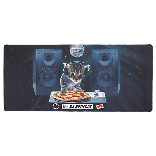 Blue Panda Extended Gaming Mouse Pad - DJ Pizza Cat Theme - XXL Extra Large Desk Pad Mouse Pad - Precision Mousing and Water Resistant Surface, 34.5 x 15.75 x 0.12 Inches by Blue Panda