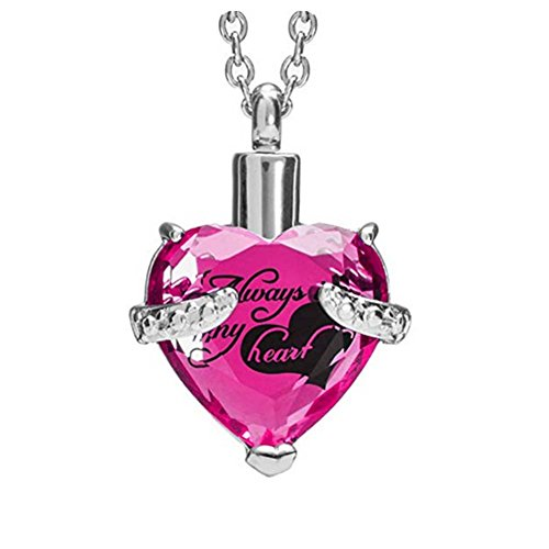 (H&Y Jewelry October Birthstone Pink Crystal Urn Necklaces for Ashes Always in My Heart Cremation Memorial Keepsake Pendant)